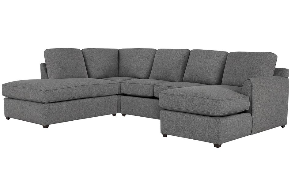 Asheville Gray Fabric Small Left Bumper Sectional