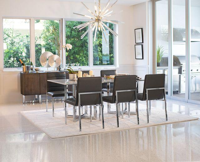 Amalfi Gray Glass Rectangular Table & 4 Upholstered Chairs (1)