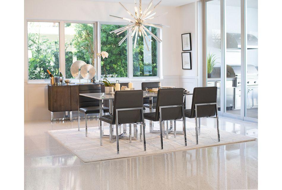 Amalfi Gray Glass Rectangular Table & 4 Upholstered Chairs