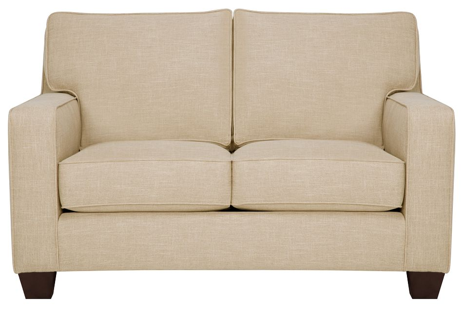 York Beige Fabric Loveseat