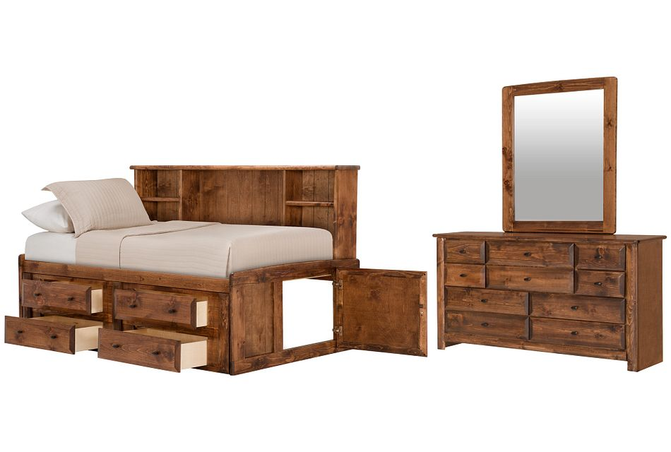 Laguna Dark Tone Bookcase Daybed Storage Bedroom