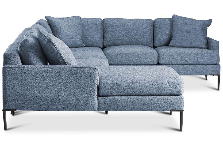 Morgan Blue Fabric Medium Left Chaise Sectional W/ Metal Legs
