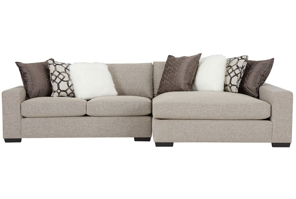 Orlando Brown Fabric Right Chaise Sectional