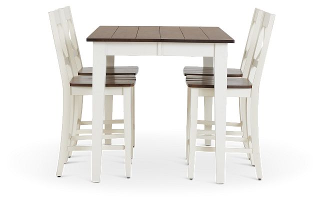 Sumter White High Table & 4 Barstools (2)