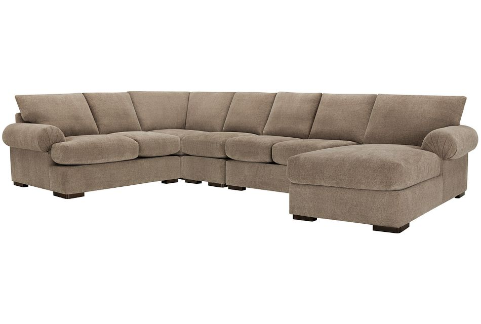 Belair Dark Taupe Fabric Large Right Chaise Sectional