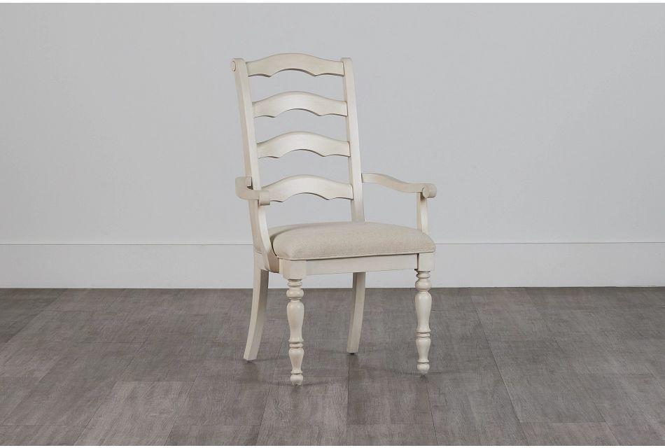 Savannah Ivory Wood Arm Chair,  (0)
