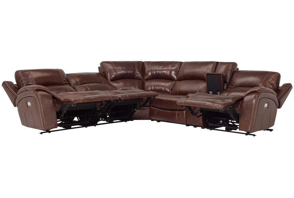 Memphis Medium Brown Lthr/vinyl Small Triple Power Reclining Two-arm Sectional