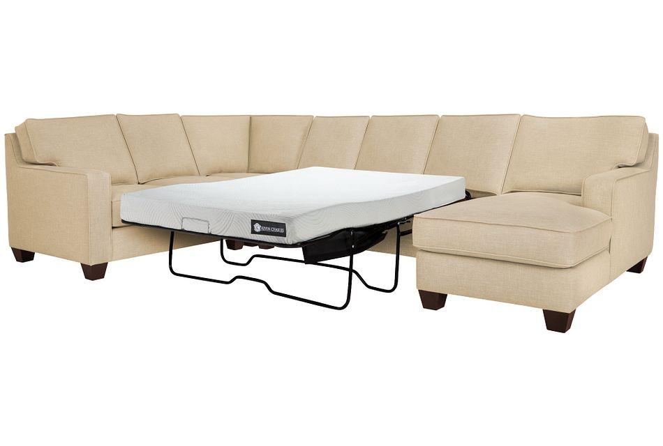 York Beige Cool Mfoam Right Chaise Memory Foam Sleeper Sectional