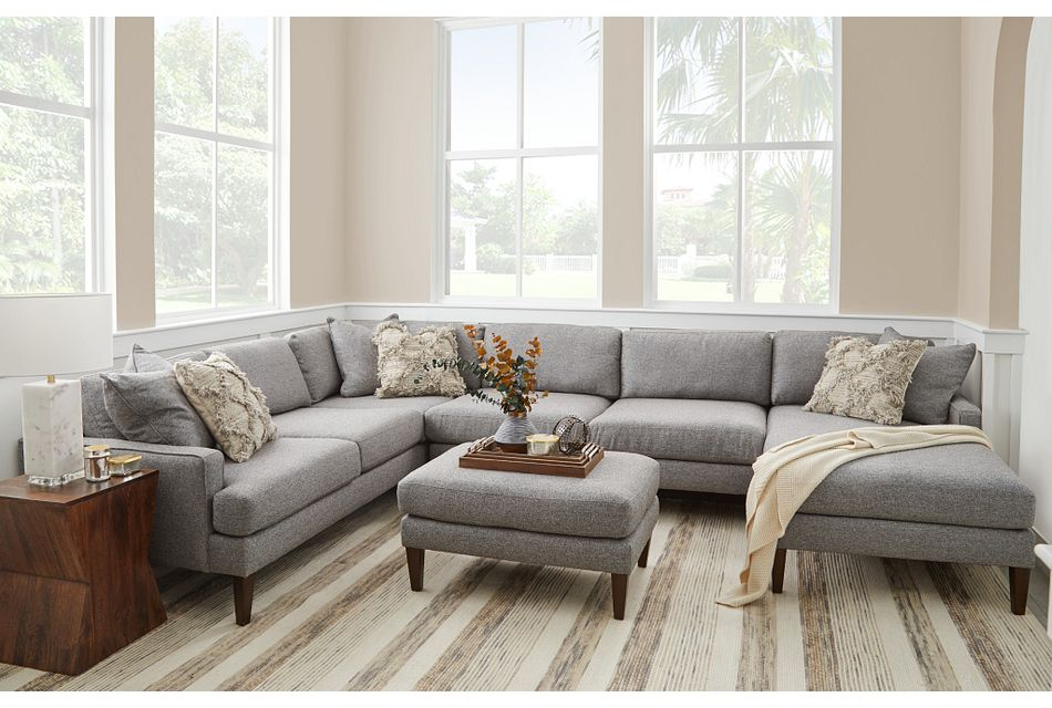 Morgan Dark Gray Fabric Medium Right Chaise Sectional W/ Wood Legs