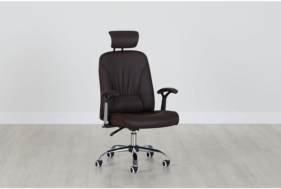 Aurora Brown Uph Desk Chair, %%bed_Size%% (0)