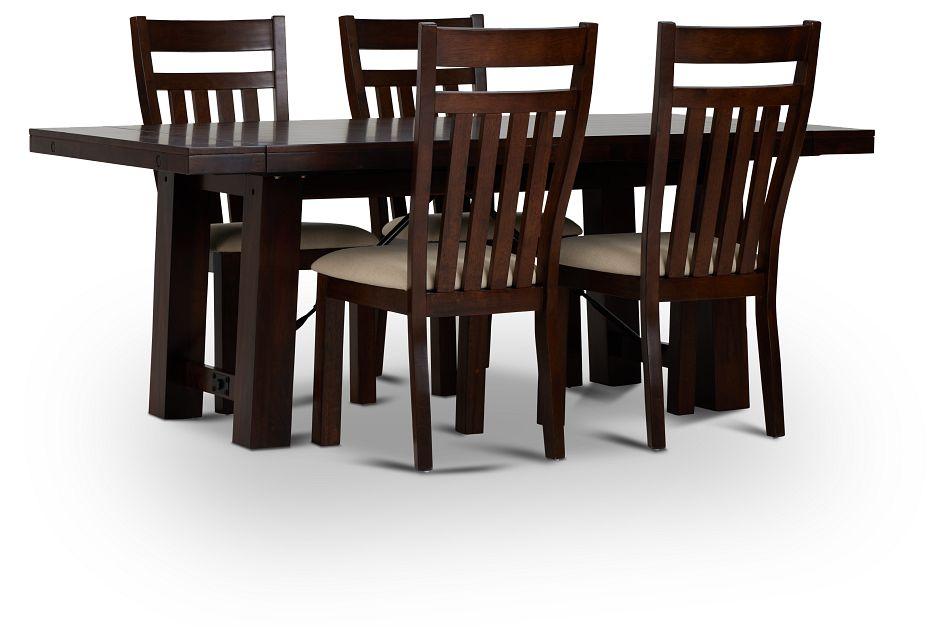 Napa Dark Tone Table & 4 Wood Chairs,  (1)