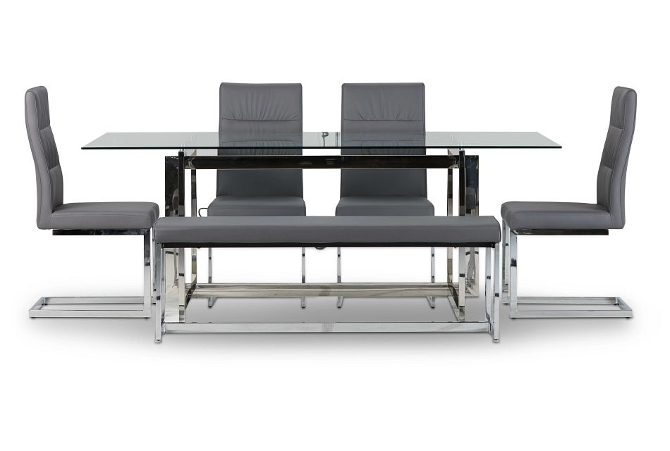 Bronx Glass Gray Table, 4 Chairs & Bench