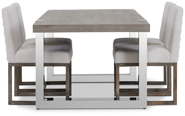 Berlin White Table & 4 Upholstered Chairs (3)
