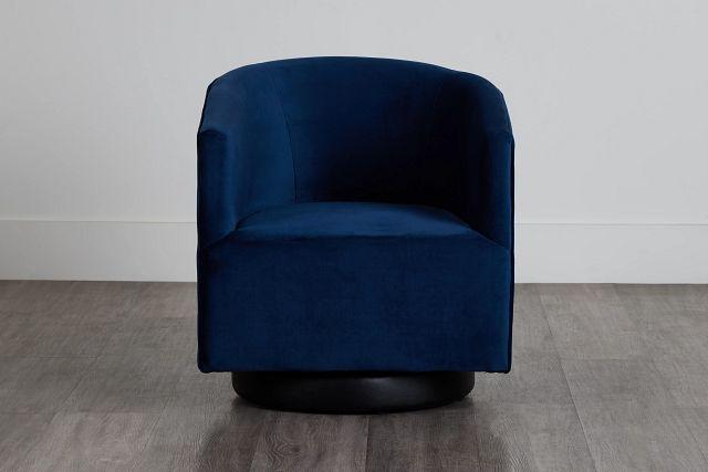 Charlotte Dark Blue Velvet Swivel Accent Chair (0)