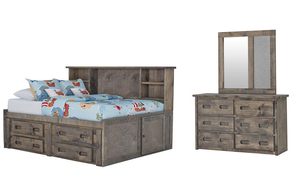 Cinnamon Gray Bookcase Daybed Storage Bedroom