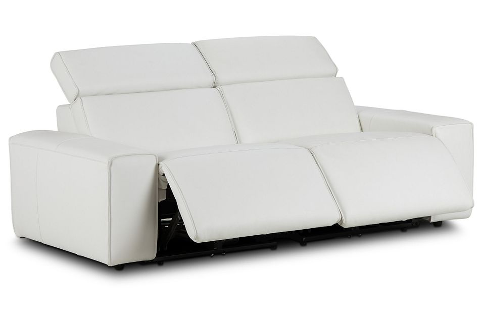 Carmelo White Leather Power Reclining Sofa