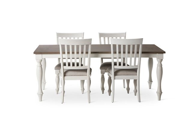 Grand Bay Two-tone Wood Table & 4 Upholstered Chairs (2)