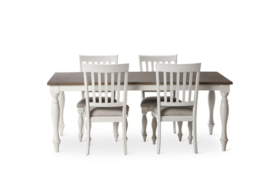 Grand Bay Two-tone Wood Table & 4 Upholstered Chairs