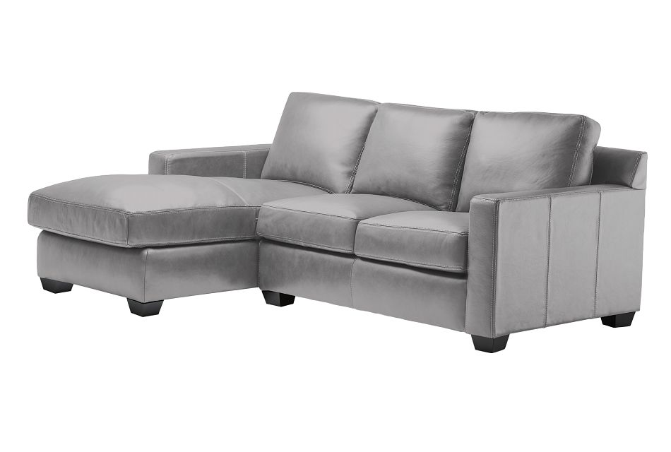 Carson Gray Leather Left Chaise Sectional