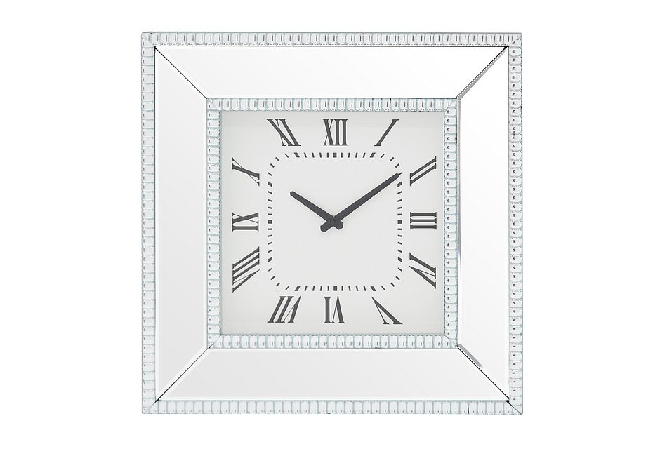 Edie Silver Mirrored Wall Clock