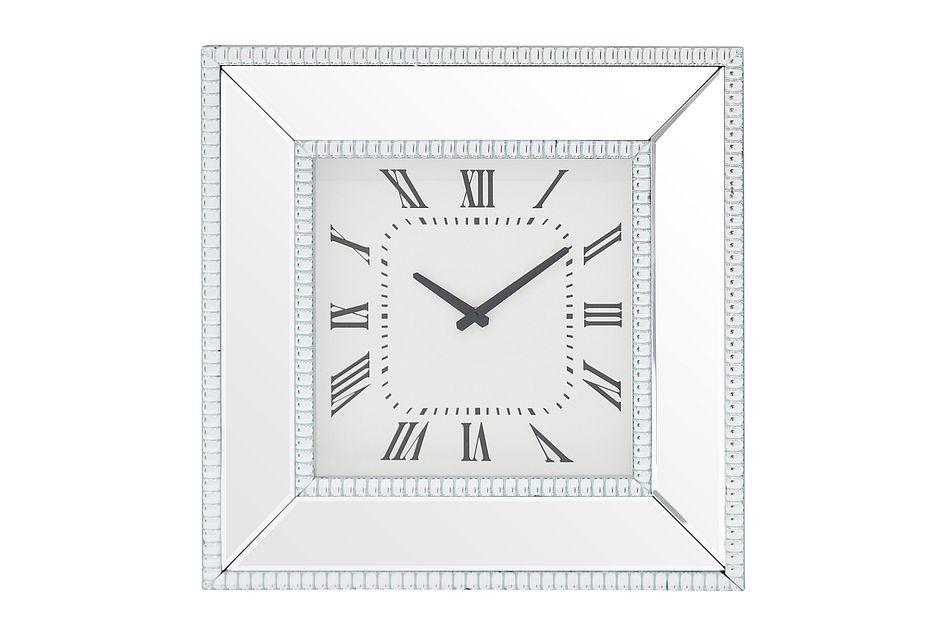 Edie Silver Mirrored Wall Clock