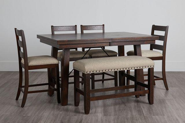 Jax Dark Tone High Table, 4 Barstools & High Bench (0)