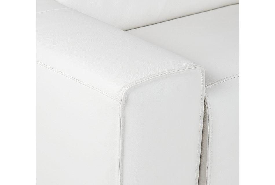 Carmelo White Leather Medium Triple Power 2-arm Sectional
