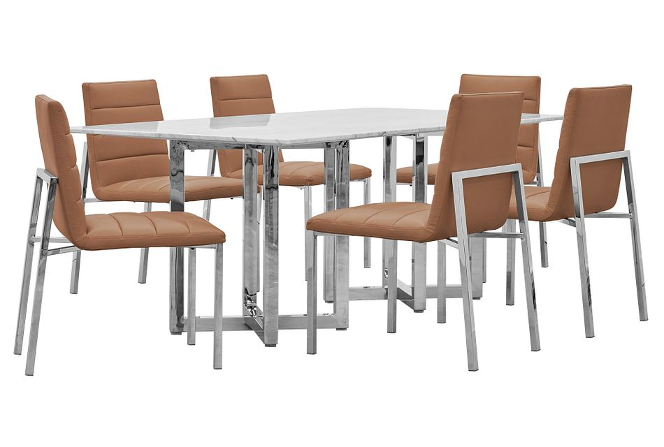 Amalfi Brown Marble Rectangular Table & 4 Upholstered Chairs