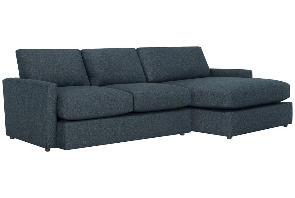 Noah Dark Blue  FABRIC Small Right Chaise Sectional,  (0)