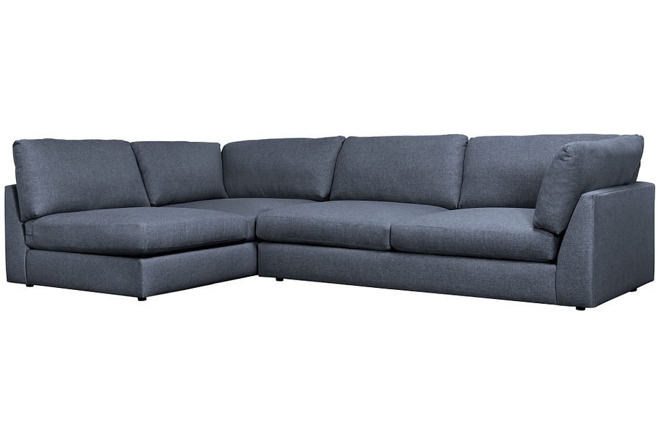 Harper Dark Blue Fabric Small Right Arm Sectional