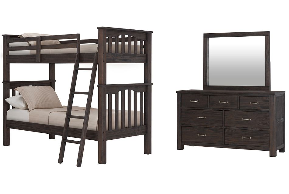 Highlands Dark Tone Bunk Bed Bedroom