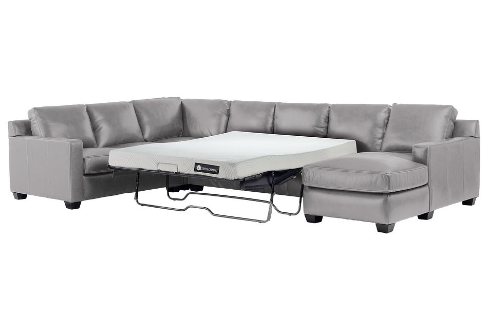 Carson Gray Leather Medium Right Chaise Memory Foam Sleeper Sectional