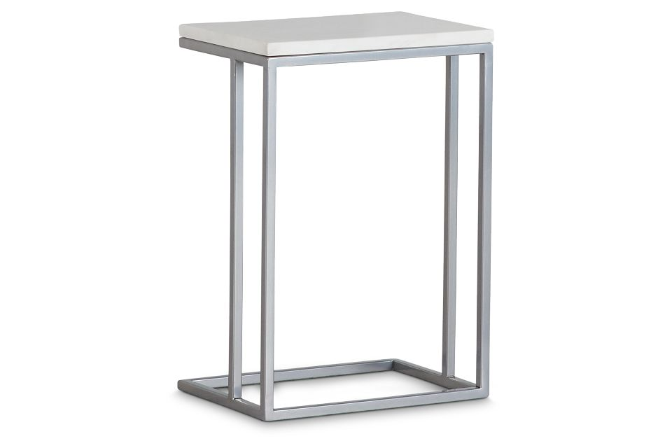 Tayah Silver Marble Chairside Table