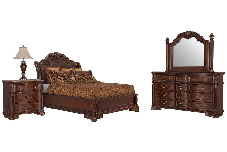 Regal Dark Tone Leather Platform Bedroom