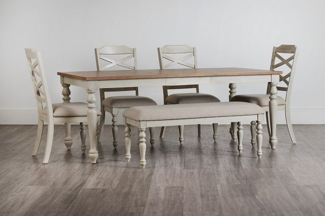 Lexington Two-tone Rect Table, 4 Chairs & Bench (0)