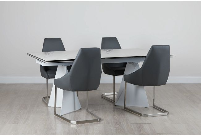 Monaco Gray Ceramic Table & 4 Upholstered Chairs