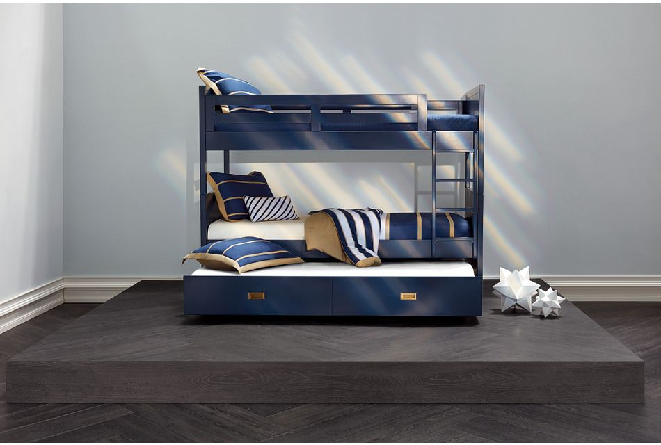 Ryder Dark Blue Trundle Bunk Bed