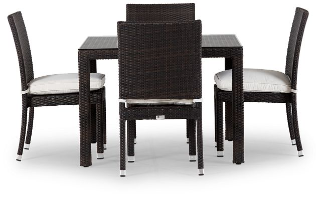 """Zen White 40"""" Square Table & 4 Chairs (2)"""