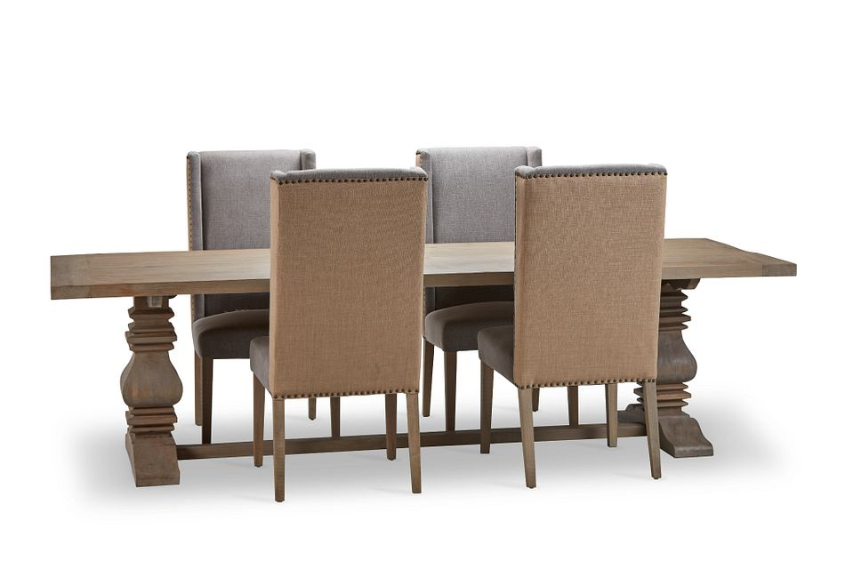 """Hadlow Gray 110"""" Table & 4 Upholstered Chairs"""