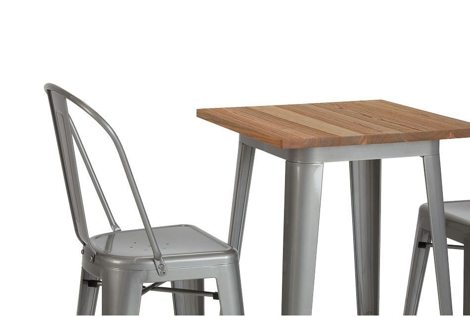 Huntley Light Tone Pub Table & 2 Metal Barstools