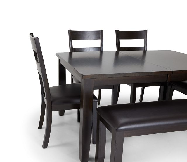 Navarro Dark Tone Rect Table, 4 Chairs & Bench