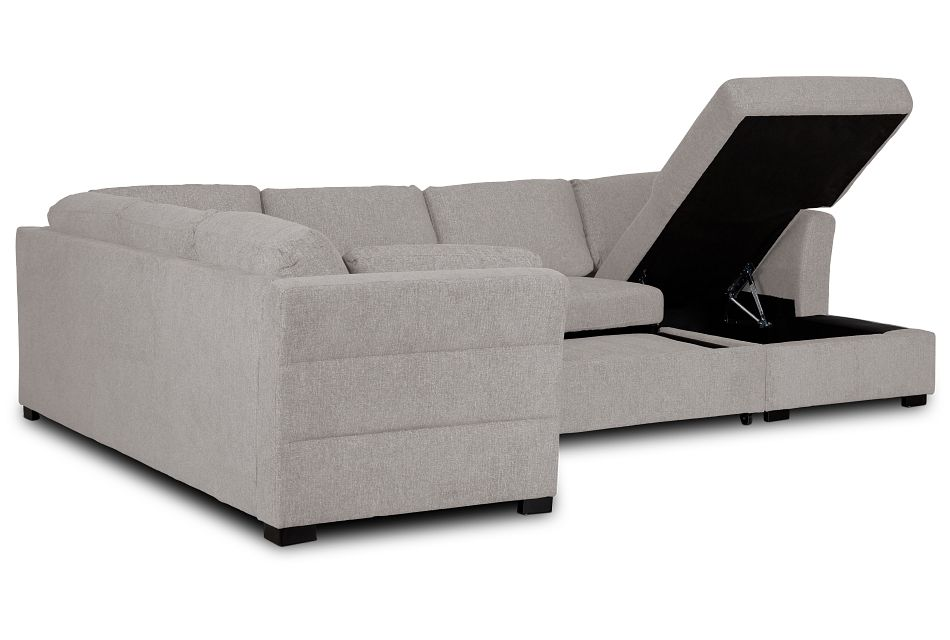 Amber Light Gray Fabric Large Right Chaise Sleeper Sectional