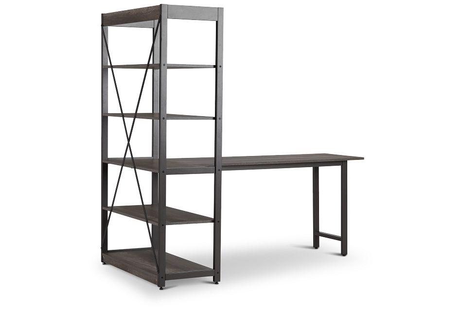 Milton Gray Desk & Bookcase,  (2)