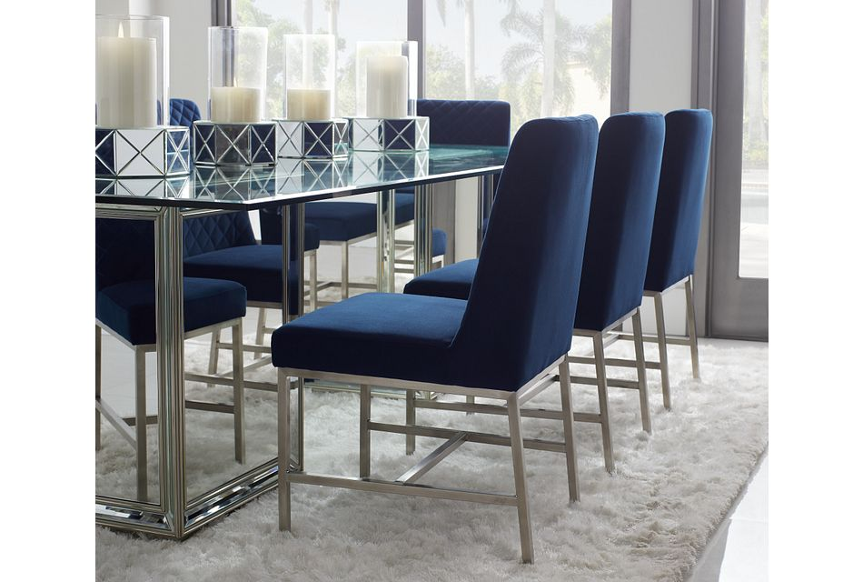 Caspia Dark Blue Velvet Upholstered Side Chair