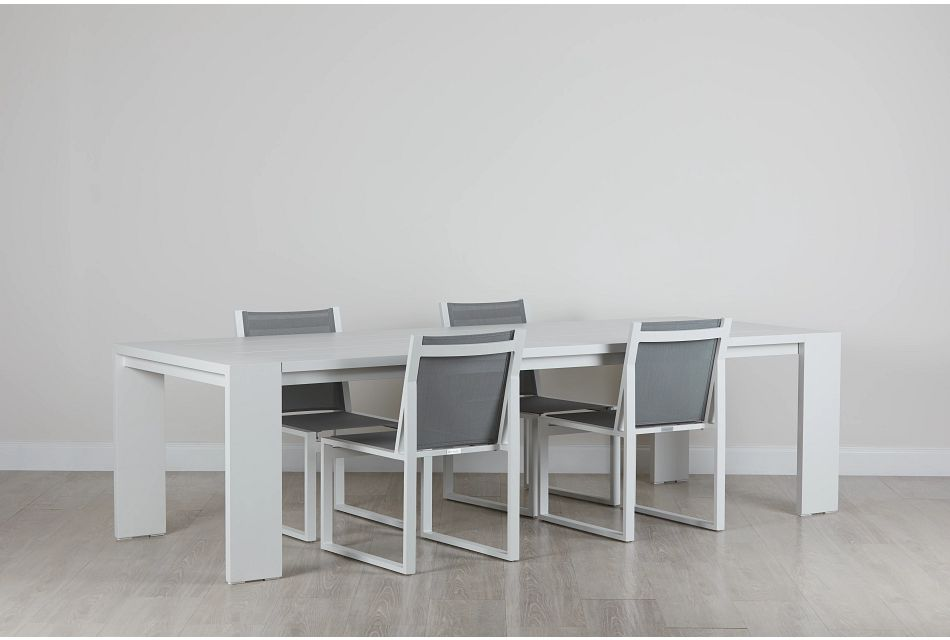 "Linear White 110"" Aluminum Table & 4 Sling Side Chairs"