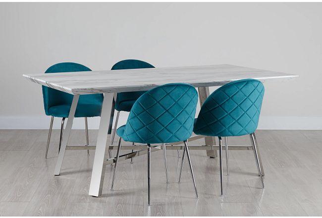 Capri Stainless Steel Dk Teal Rectangular Table & 4 Upholstered Chairs