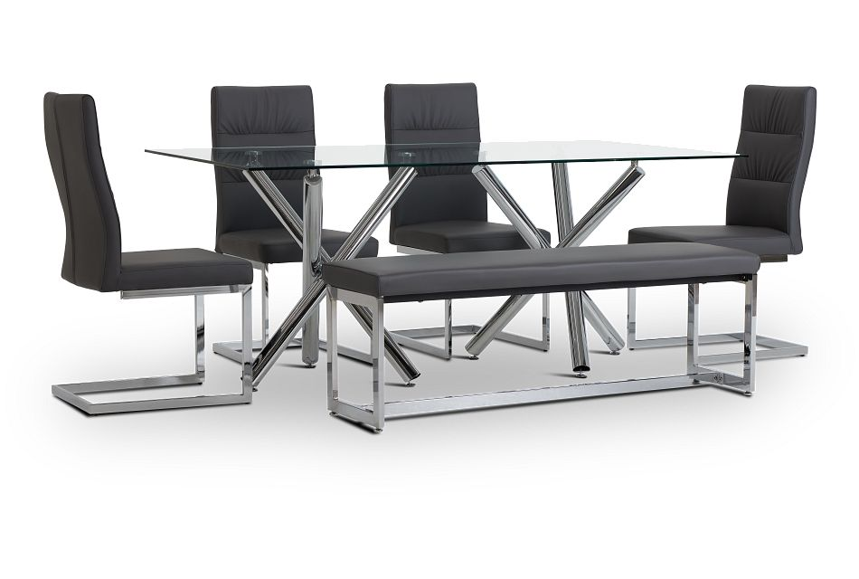 Quincy Glass Gray Table, 4 Chairs & Bench,  (1)