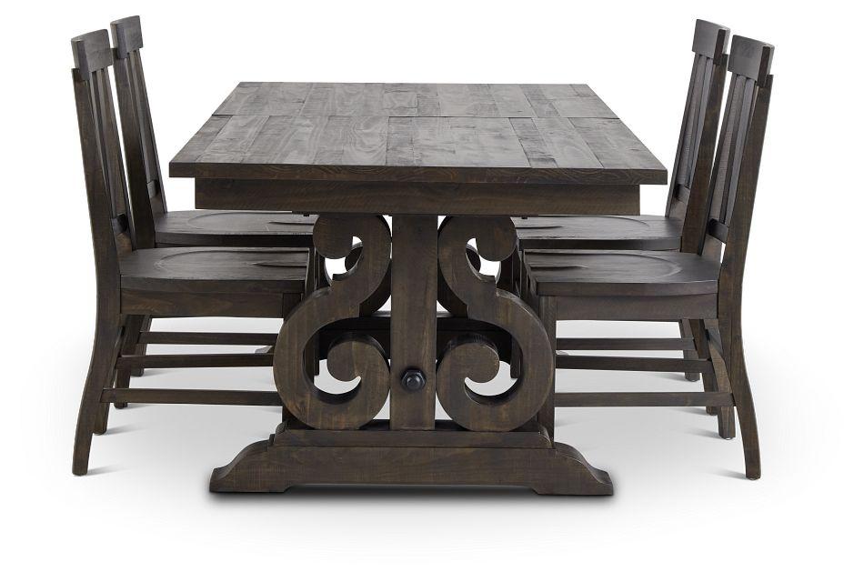 Sonoma Dark Tone Trestle Table & 4 Wood Chairs,  (2)