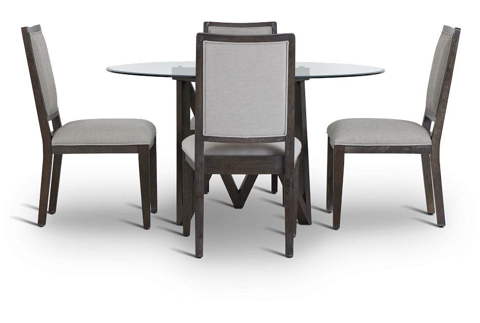 Tribeca Dark Tone Glass Table & 4 Wood Chairs,  (3)