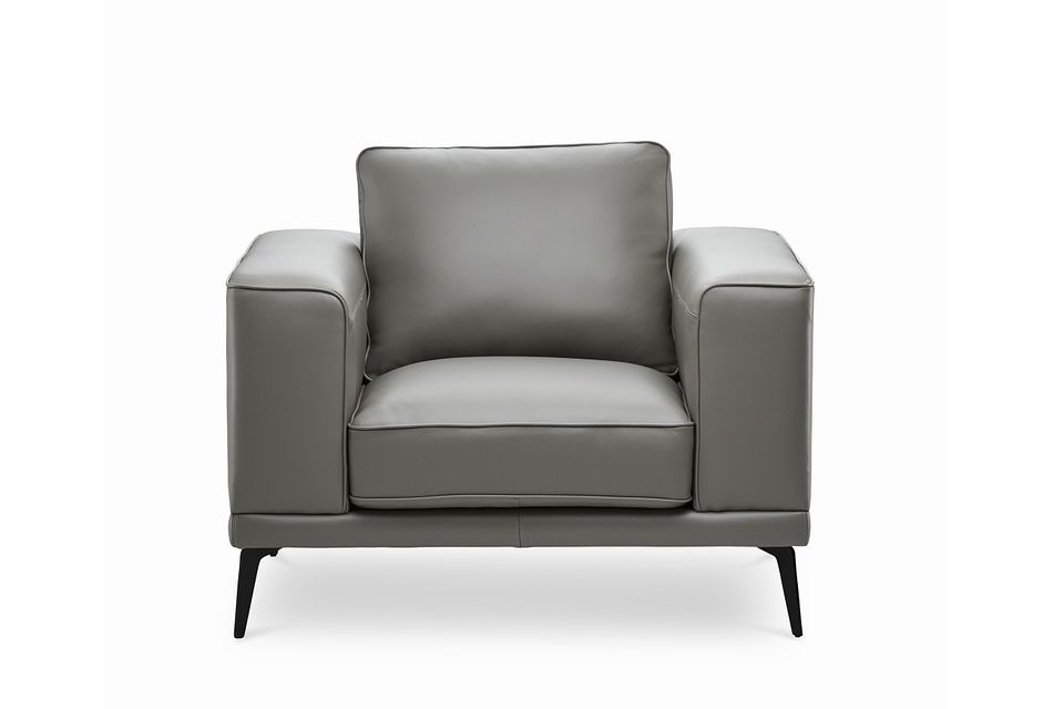 Naples Gray Leather Chair With Black Legs